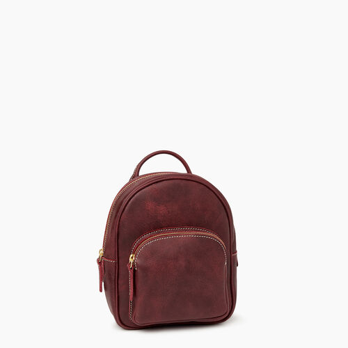 Roots-Leather Backpacks-City Chelsea Pack-Crimson-A