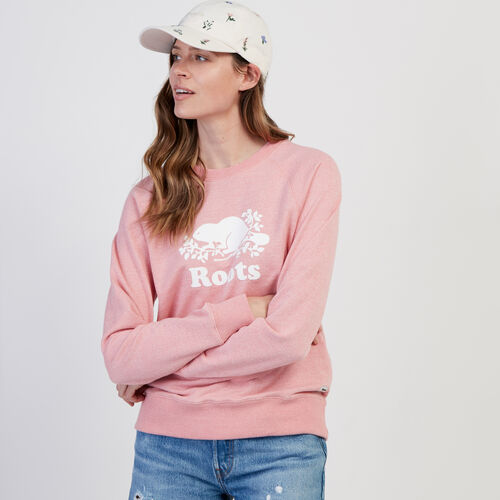 Roots-Women New Arrivals-Original Crew Sweatshirt-Sunset Apricot Ppr-A