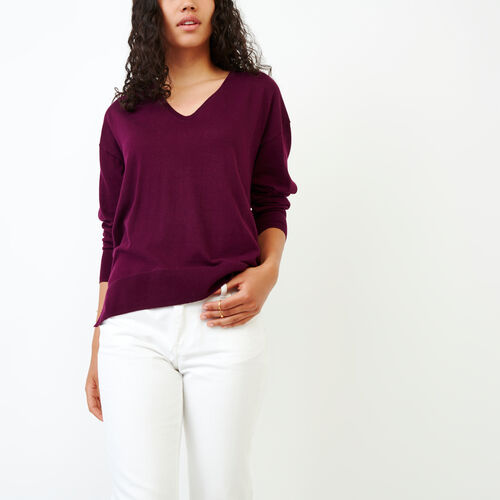 Roots-Women Categories-Fauna V Neck Sweater-Pickled Beet-A