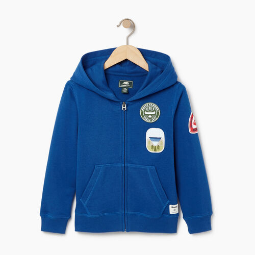 Roots-Kids Boys-Boys Patches Full Zip Hoody-Active Blue-A