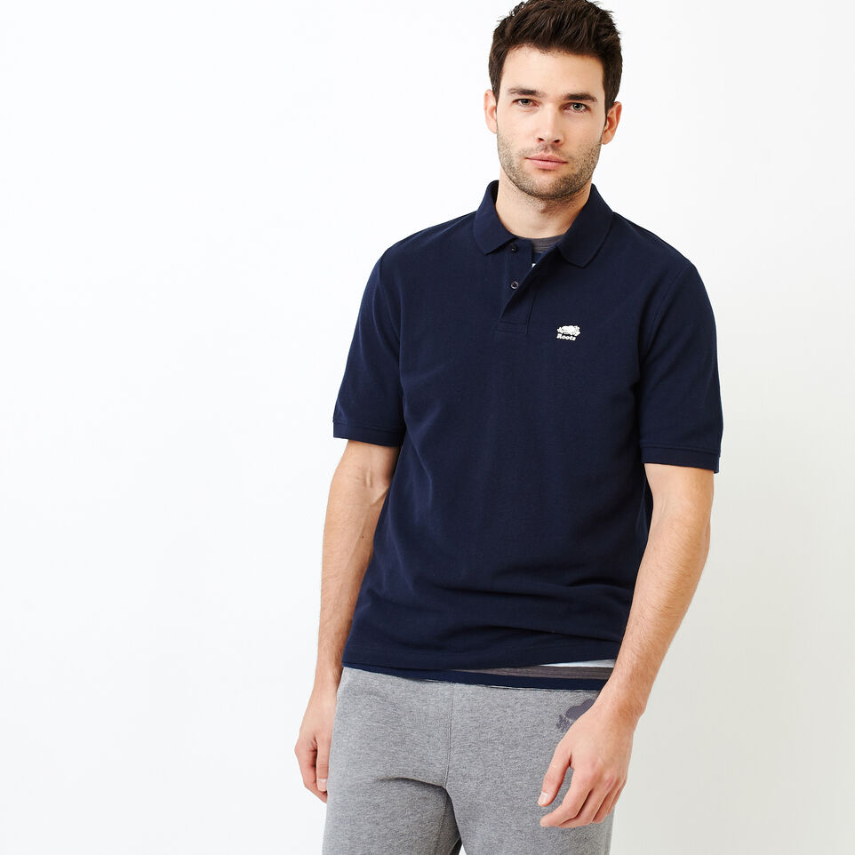 Roots-Men Shirts & Polos-Heritage Pique Polo-Navy Blazer-A