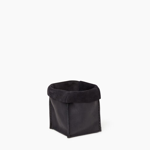 Roots-Leather Tribe Leather-Small Rollover Basket Tribe-Jet Black-A