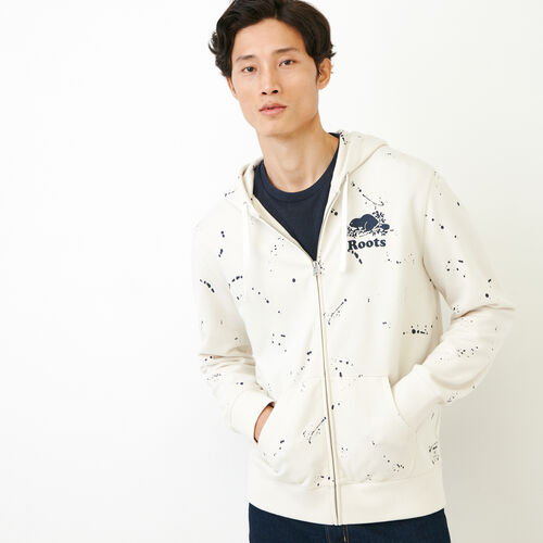 Roots-New For July Men-Splatter Zip Hoody-Cannoli Cream-A