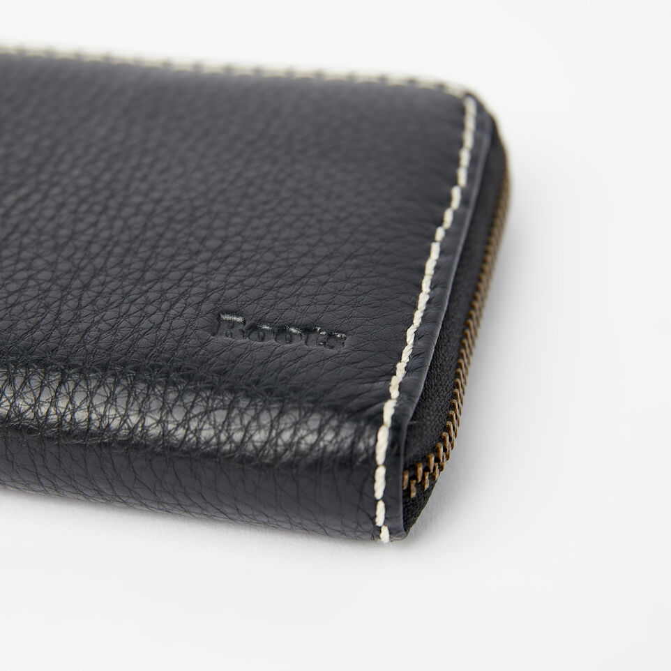 Roots-Leather Wallets-Zip Around Clutch-Black-E