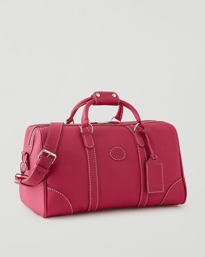 Roots-Leather Weekender Bags-Small Banff Parisian-Magenta-A