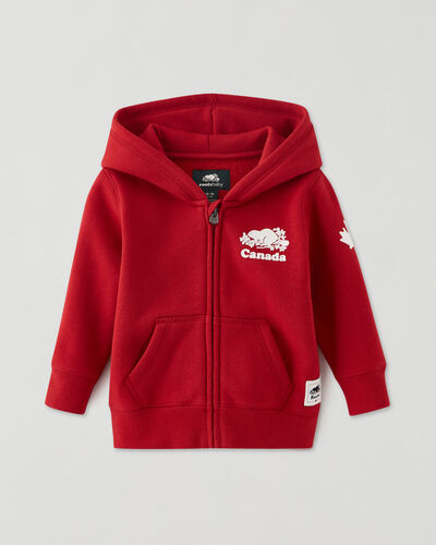 Roots-Sweats Baby-Baby Canada Full Zip Hoody-Sage Red-A