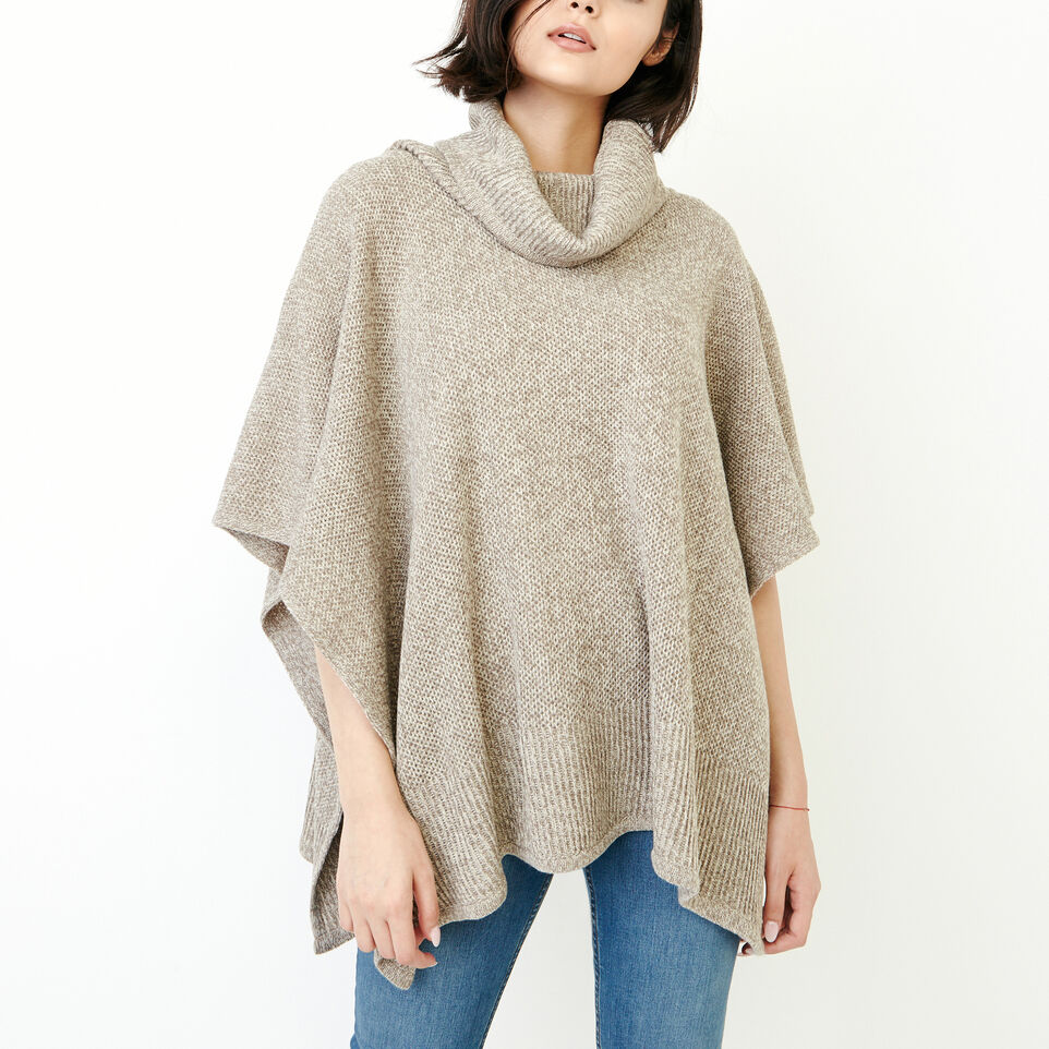Roots-Women Categories-Nahanni Poncho-Flaxseed Mix-A