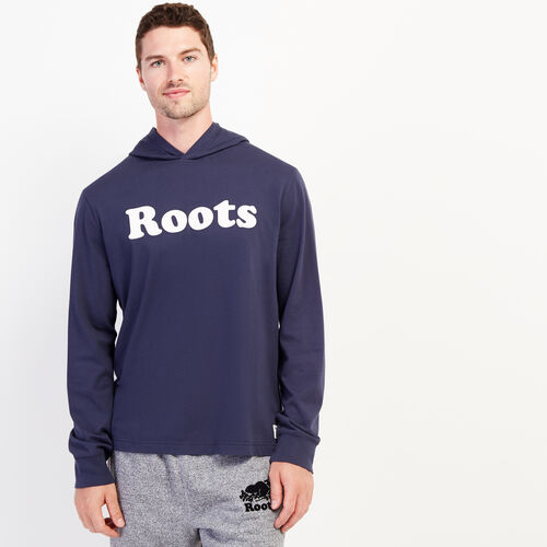 Roots-Men Graphic T-shirts-Mens Cooper Remix Hooded Long Sleeve T-shirt-Navy Blazer-A