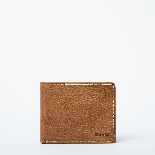 Roots-Leather  Handcrafted By Us Wallets-Mens Slimfold Wallet With Side Flap Tribe-Natural-A