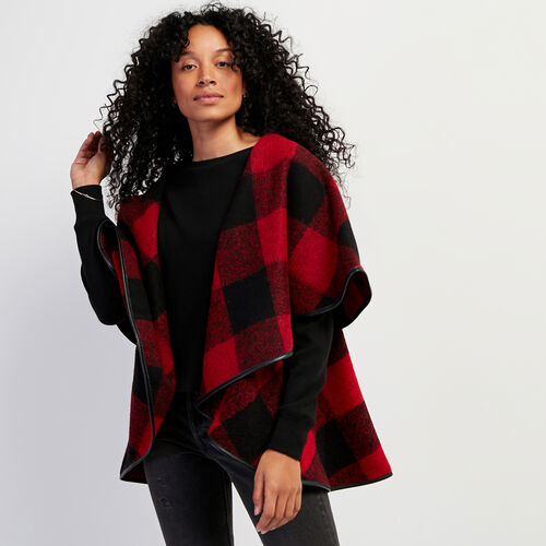 Roots-Leather Leather Jackets-Julia Cape Park Plaid-Cabin Red-A