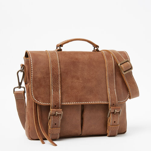 Roots-Leather  Handcrafted By Us Collections-Village Satchel Tribe-Natural-A