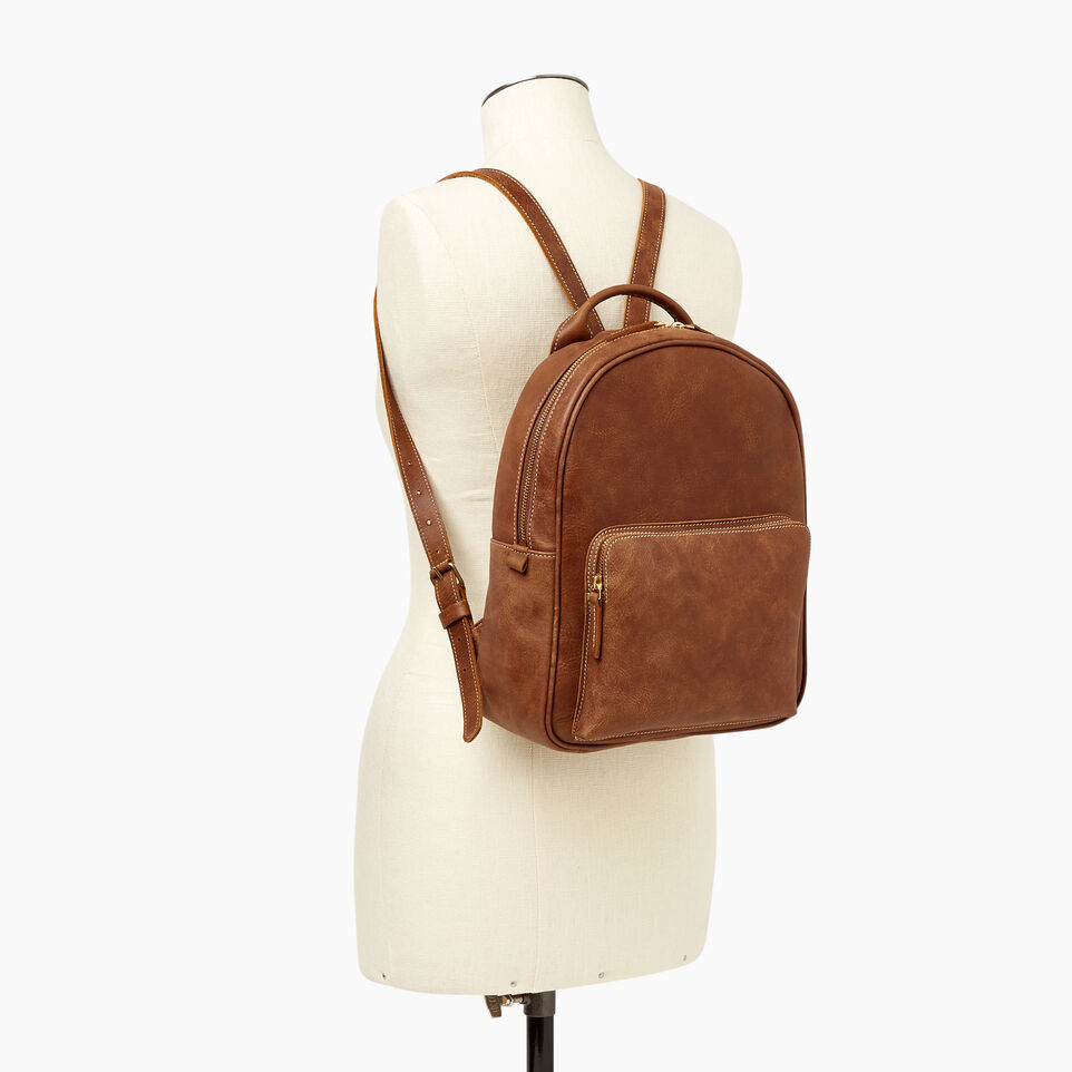 Roots-Leather Backpacks-Chelsea Pack Tribe-Natural-B