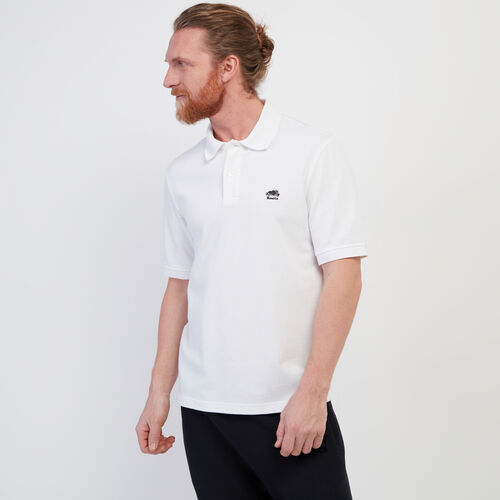 Roots-Men New Arrivals-Heritage Pique Polo-White-A