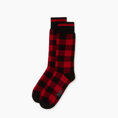 Roots-Men Our Favourite New Arrivals-Mens Park Plaid Boot Sock-Red-A