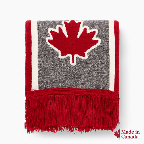 Roots-Women Scarves & Wraps-Canada Fan Scarf-Red-A