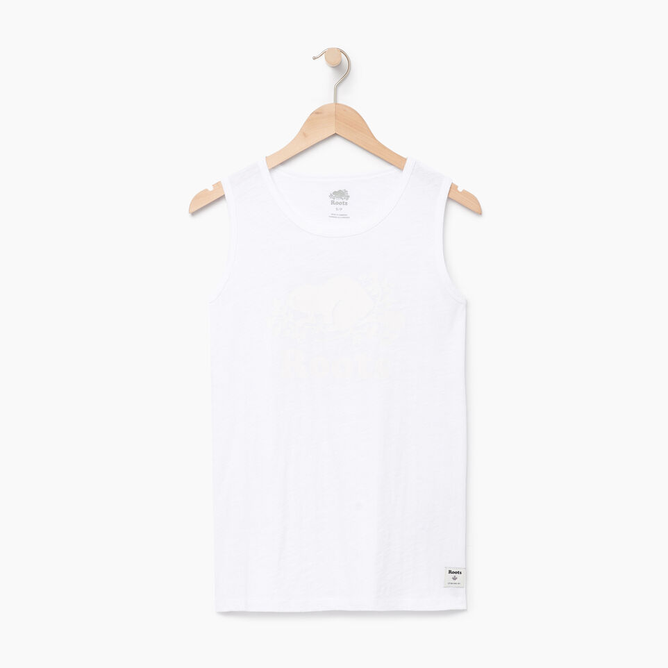 Roots-Women Clothing-Cooper Beaver Muscle Tank-Crisp White-A