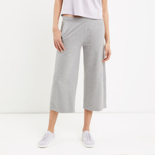 Roots-Women Sweatpants-Mabel Lake Culotte Sweatpant-Salt & Pepper-A