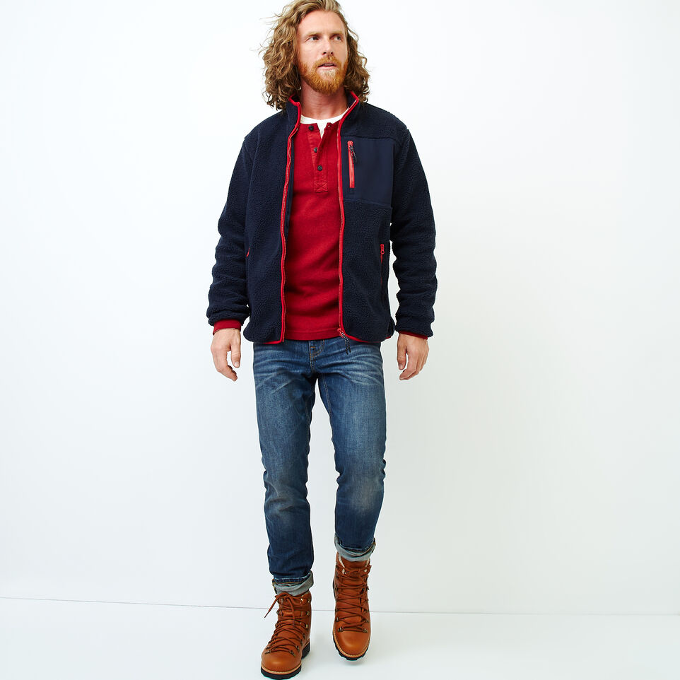 Roots-Men Our Favourite New Arrivals-Whistler Full Zip Mock Sweatshirt-Navy Blazer-B