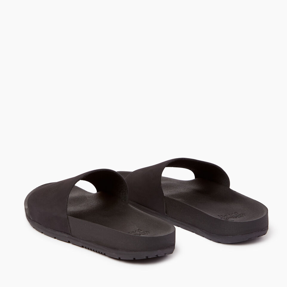 Roots-Women Categories-Womens Long Beach Pool Slide-Black-E