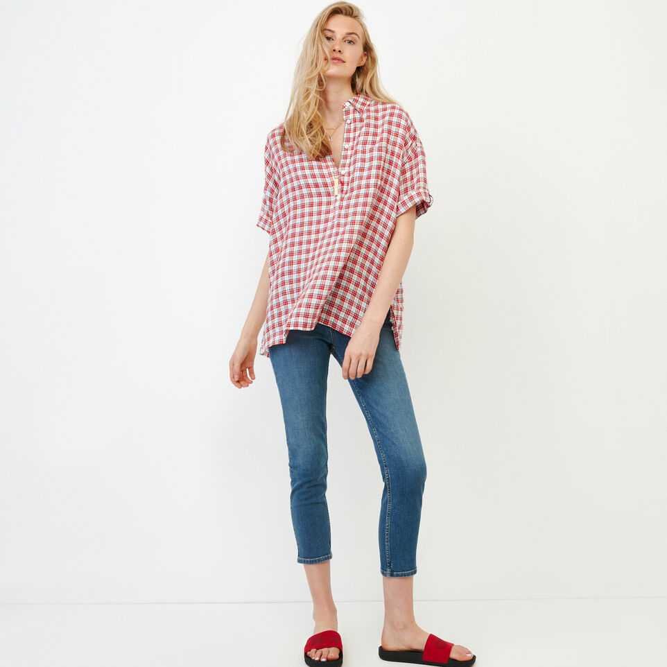Roots-Women Our Favourite New Arrivals-Rivieres Popover Shirt-Racing Red-B