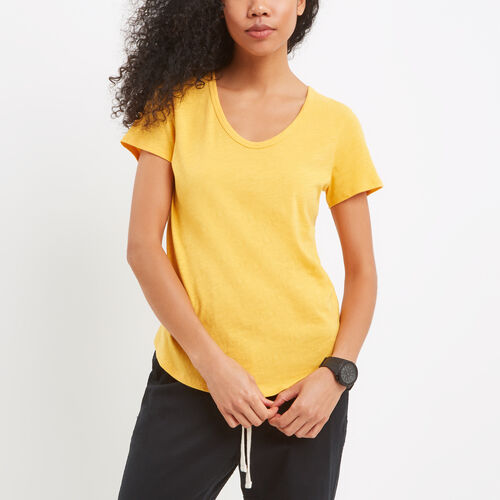 Roots-Women Tops-Savanna Scoop Neck Top-Sunset Yellow-A