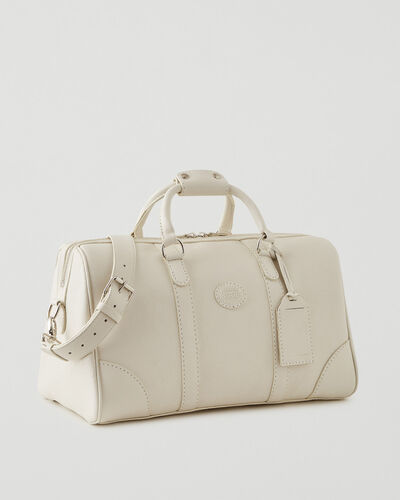 Roots-Leather Weekender Bags-Small Banff Parisian-Ivoire-A