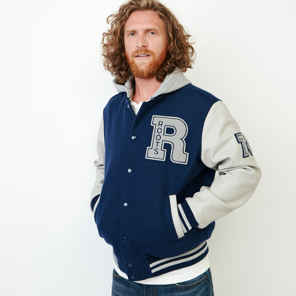 Roots-Men Award Jackets-Mens Hoody Award Jacket-Navy-A