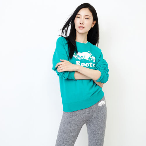 Roots-Women Categories-Original Crew Sweatshirt-Dynasty Turquoise-A