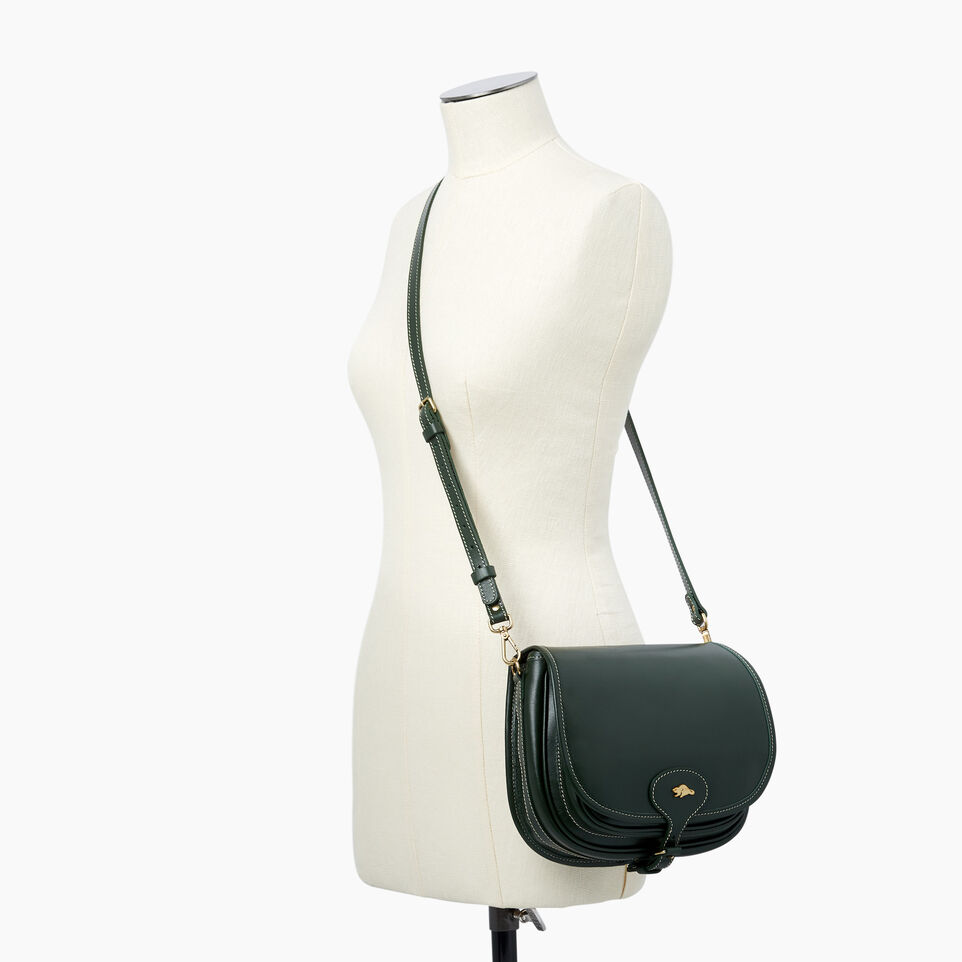 Roots-Leather  Handcrafted By Us Handbags-Medium English Saddle Heritage-Hunter Green-B