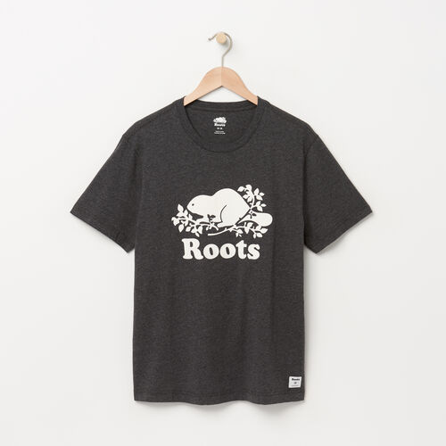 Roots-Sale Men-Mens Cooper Beaver T-shirt-Charcoal Mix-A