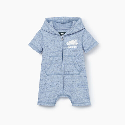 Roots-Kids Rompers & Onesies-Baby Cooper Beaver Kanga Romper-True Navy Mix-A