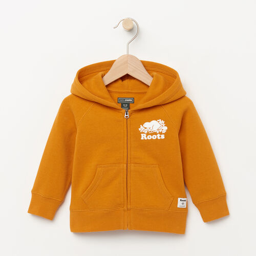 Roots-Clearance Baby-Baby Original Full Zip Hoody-Squash Yellow-A