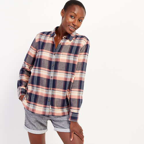 Roots-New For October Plaids-Relaxed Flannel Shirt-Peachskin-A