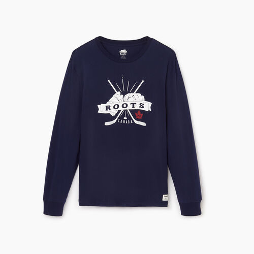 Roots-Men Our Favourite New Arrivals-Mens League Long Sleeve-Starnight Blue-A