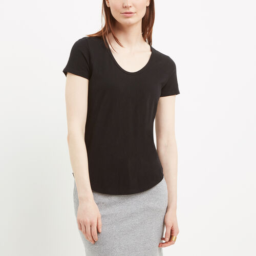 Roots-Women Tops-Savanna Scoop Neck Top-Black-A