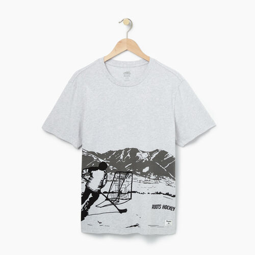 Roots-Winter Sale Tops-Mens Hockey Scene T-shirt-Snowy Ice Mix-A