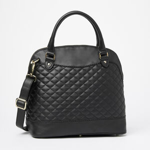 Roots-Leather Shoulder Bags-Cafe Bag Quilted Nappa/Box-Black-A