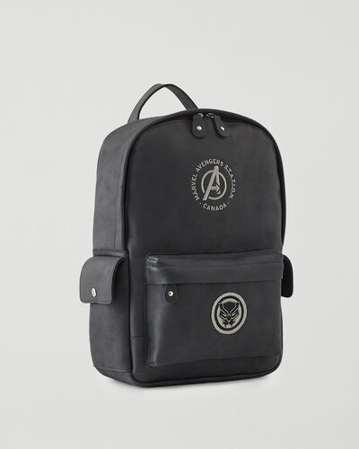 Roots-Leather Backpacks-Avengers Black Panther Central Pack-Black-A