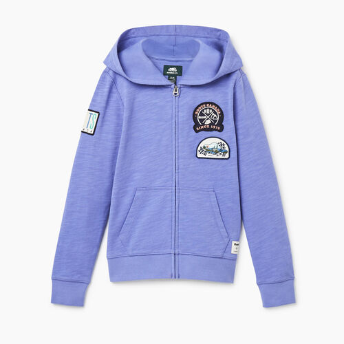 Roots-Sweats Sweatsuit Sets-Girls Camp Patch Full Zip Hoody-Violet Storm-A