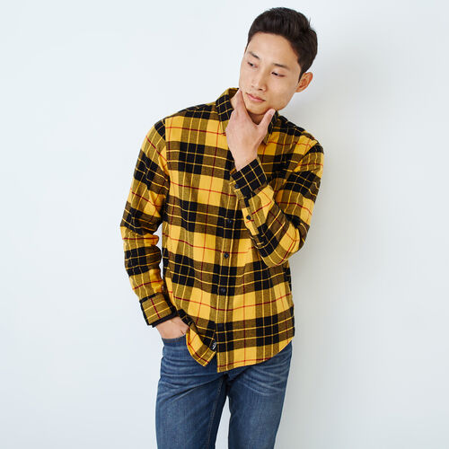 Roots-Men Categories-Clossen Flannel Shirt-Yellow-A