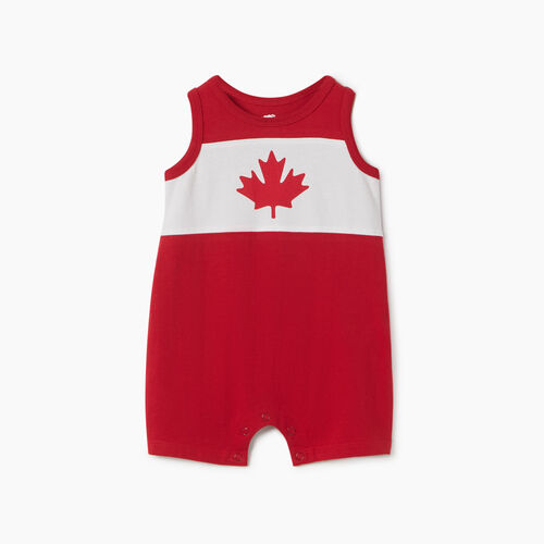 Roots-Kids New Arrivals-Baby Blazon Romper-Sage Red-A