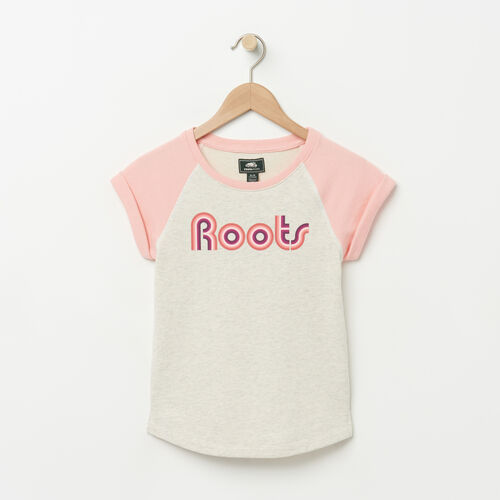 Roots-Kids Girls-Girls Short Sleeve Crew-White Grey Mix-A