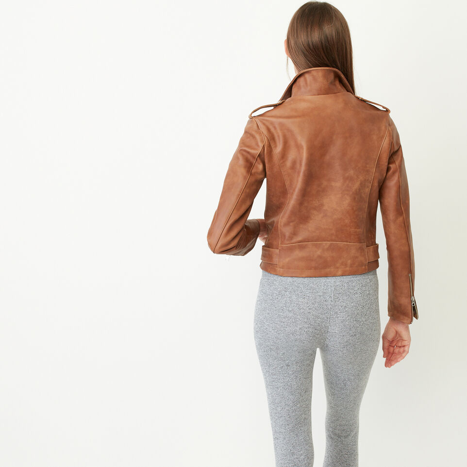 Roots-Leather Leather Jackets-Moto Jacket Tribe-Natural-C