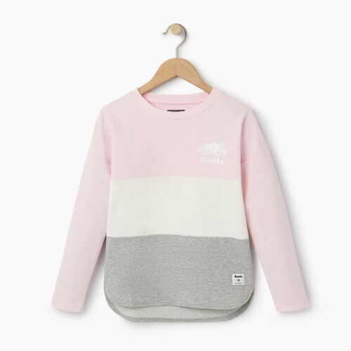 Roots-Kids Categories-Girls Colour Block Sweatshirt-Pink Mist-A