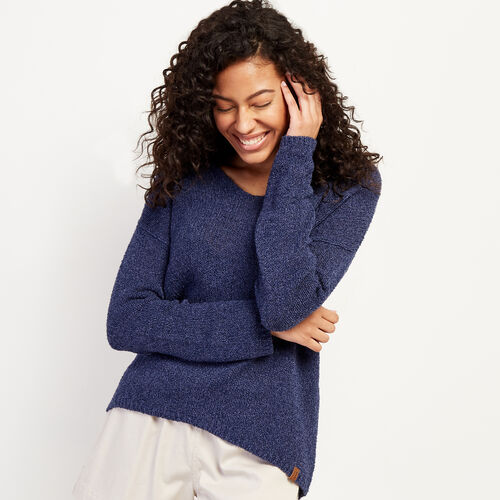 Roots-Women Sweaters & Cardigans-Nimmo V-Neck Sweater-Navy Blazer Mix-A