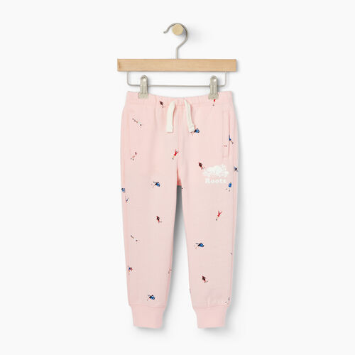 Roots-Kids Bottoms-Toddler Skater AOP Sweatpant-Light Pink-A