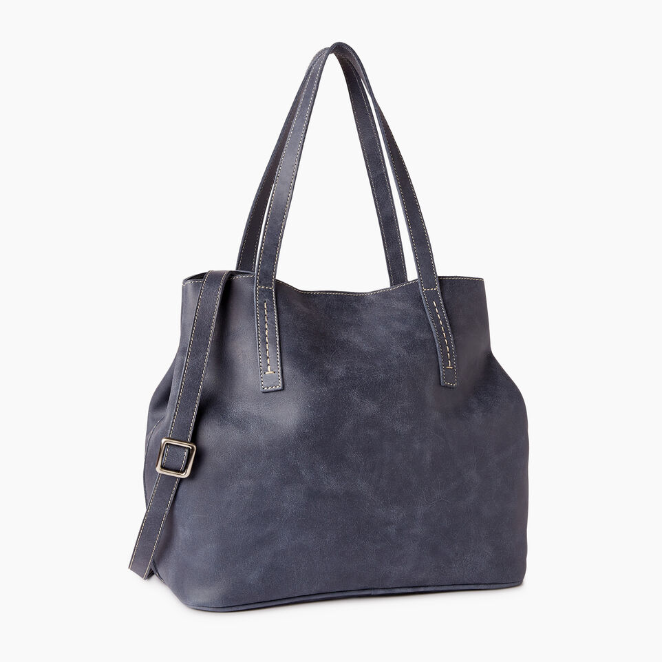 Roots-Leather  Handcrafted By Us Our Favourite New Arrivals-Amelia Tote Tribe-Navy-A