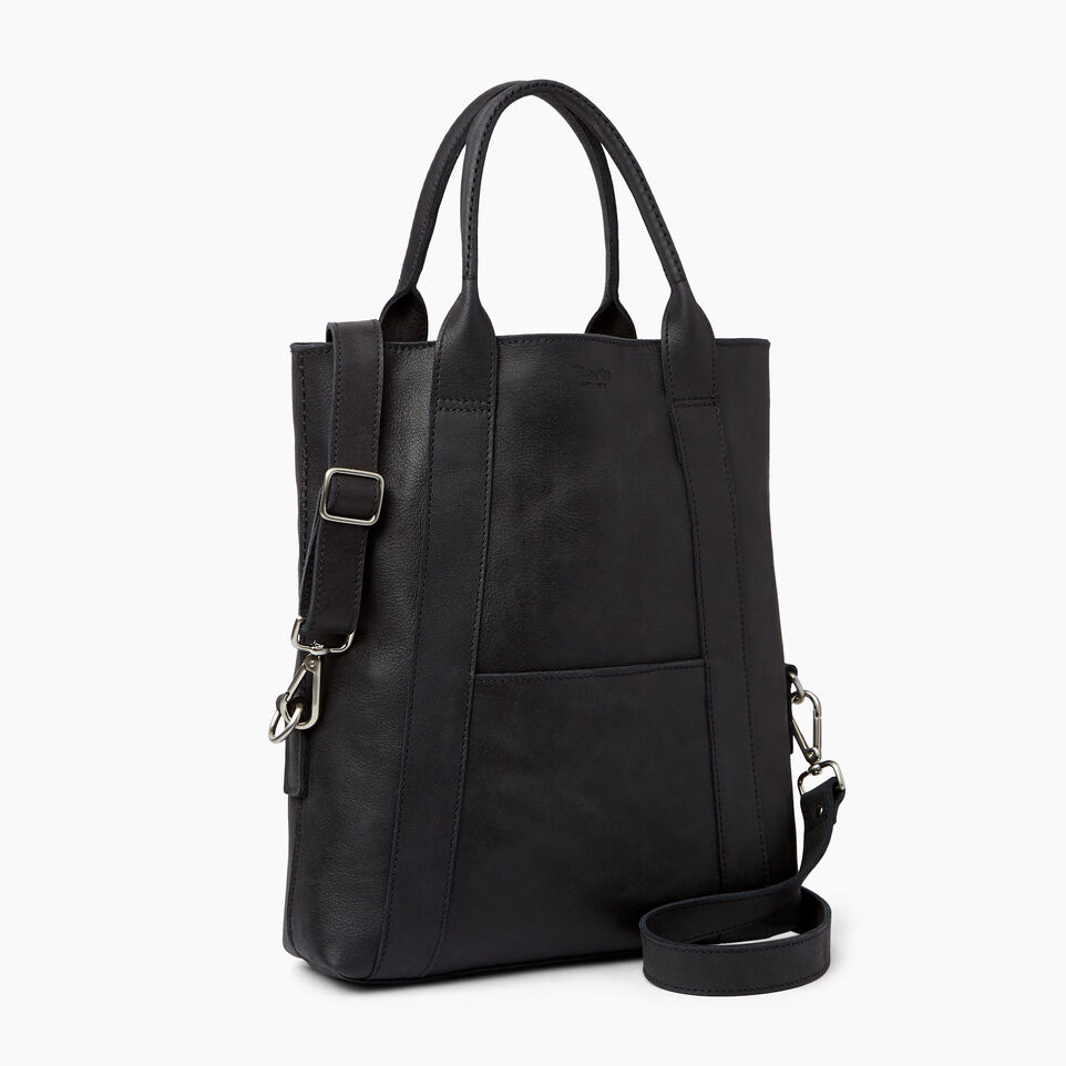 Roots-Leather  Handcrafted By Us Handbags-Annex Tote-Jet Black-A