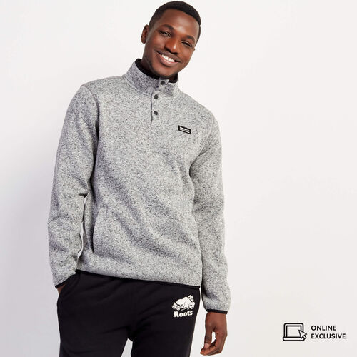 Roots-New For November Journey Collection-Journey Sweater Snap Stein-Salt & Pepper-A