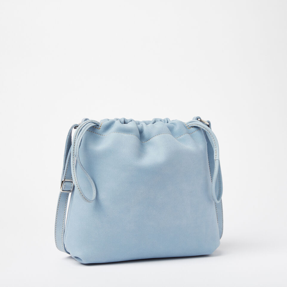 Roots-Clearance Leather-Mini Drawstring Bag Tribe-Faded Denim-A